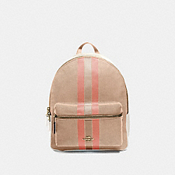 MEDIUM CHARLIE BACKPACK IN SIGNATURE JACQUARD WITH VARSITY STRIPE - LIGHT KHAKI/CORAL/GOLD - COACH F73158