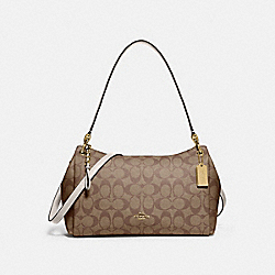 SMALL MIA SHOULDER BAG IN SIGNATURE CANVAS - KHAKI/CHALK/GOLD - COACH F73177