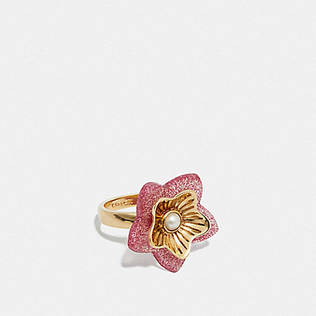 COACH FOLK FLORAL RING - PINK/GOLD - F73179