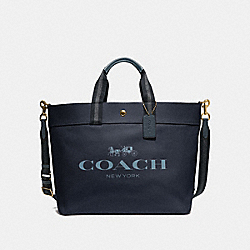 EXTRA LARGE TOTE WITH COACH PRINT - MIDNIGHT/GOLD - COACH F73195