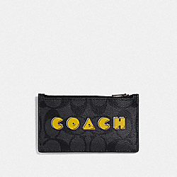 ZIP CARD CASE IN SIGNATURE CANVAS WITH PAC-MAN COACH SCRIPT - CHARCOAL/BLACK/BLACK ANTIQUE NICKEL - COACH F73225