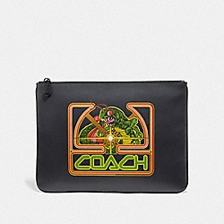 LARGE POUCH WITH ATARI CENTIPEDE MOTIF - BLACK MULTI/BLACK ANTIQUE NICKEL - COACH F73230