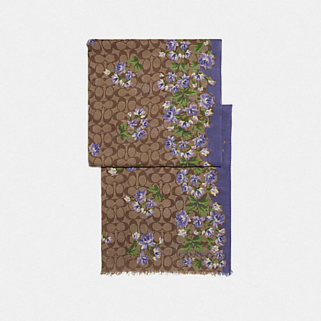 COACH SIGNATURE LILY BOUQUET PRINT OBLONG SCARF - KHAKI/PURPLE - F73235
