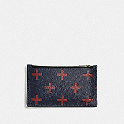 ZIP CARD CASE WITH CROSS PRINT - MIDNIGHT MULTI/BLACK ANTIQUE NICKEL - COACH F73242