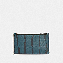 ZIP CARD CASE WITH DISRUPTED STRIPE PRINT - TEAL MULTI/BLACK ANTIQUE NICKEL - COACH F73243