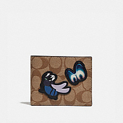 DISNEY X COACH 3-IN-1 WALLET IN SIGNATURE CANVAS WITH SNOW WHITE AND THE SEVEN DWARFS PATCHES - TAN - COACH F73262