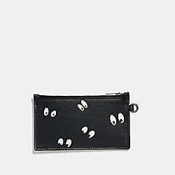 DISNEY X COACH ZIP CARD CASE WITH SNOW WHITE AND THE SEVEN DWARFS EYES PRINT - BLACK/MULTI - COACH F73263