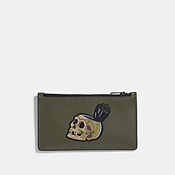 DISNEY X COACH ZIP CARD CASE WITH SNOW WHITE AND THE SEVEN DWARFS SKULL MOTIF - JUNIPER - COACH F73264
