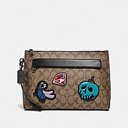 DISNEY X COACH CARRYALL POUCH IN SIGNATURE CANVAS WITH SNOW WHITE AND THE SEVEN DWARFS PATCHES - TAN - COACH F73270