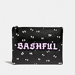 DISNEY X COACH LARGE POUCH WITH SNOW WHITE AND THE SEVEN DWARFS EYES PRINT AND BASHFUL - BLACK/MULTI - COACH F73273