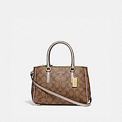 MINI SURREY CARRYALL IN SIGNATURE CANVAS - GOLD/KHAKI/PLATINUM - COACH F73290