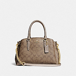 MINI SAGE CARRYALL IN SIGNATURE CANVAS - GOLD/KHAKI/PLATINUM - COACH F73291