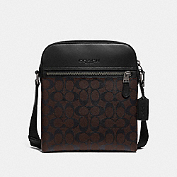 HOUSTON FLIGHT BAG IN SIGNATURE CANVAS - MAHOGANY/BLACK/BLACK ANTIQUE NICKEL - COACH F73336
