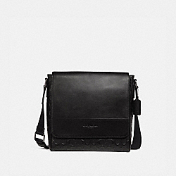 HOUSTON MAP BAG IN SIGNATURE LEATHER - BLACK/BLACK ANTIQUE NICKEL - COACH F73340