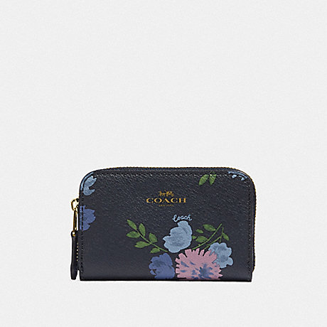 COACH SMALL ZIP AROUND COIN CASE WITH PAINTED PEONY PRINT - NAVY MULTI/IMITATION GOLD - F73350