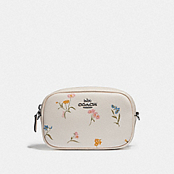 CONVERTIBLE BELT BAG WITH MULTI FLORAL PRINT - CHALK MULTI/SILVER - COACH F73356