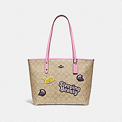 DISNEY X COACH CITY ZIP TOTE IN SIGNATURE CANVAS WITH SLEEPING BEAUTY - MULTI - COACH F73359