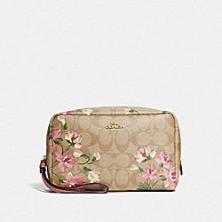 BOXY COSMETIC CASE IN SIGNATURE CANVAS WITH LILY PRINT - IM/LIGHT KHAKI PINK MULTI - COACH F73365