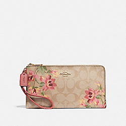 DOUBLE ZIP WALLET IN SIGNATURE CANVAS WITH LILY PRINT - LIGHT KHAKI/PINK MULTI/IMITATION GOLD - COACH F73370