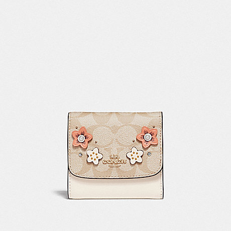 COACH SMALL WALLET IN SIGNATURE CANVAS WITH FLORAL APPLIQUE - LIGHT KHAKI MULTI/IMITATION GOLD - F73378