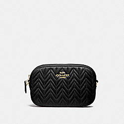 CONVERTIBLE BELT BAG WITH QUILTING - BLACK/IMITATION GOLD - COACH F73384