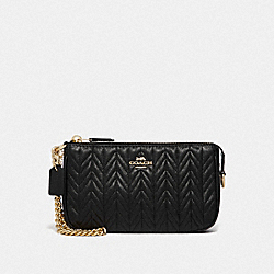 LARGE WRISTLET 19 WITH QUILTING - BLACK/IMITATION GOLD - COACH F73385