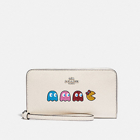 COACH LARGE PHONE WALLET WITH MS. PAC-MAN ANIMATION - CHALK MULTI/SILVER - F73444