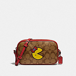 CROSSBODY POUCH IN SIGNATURE CANVAS WITH MS. PAC-MAN - KHAKI MULTI/SILVER - COACH F73446