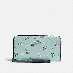 LARGE PHONE WALLET WITH BEACH UMBRELLA PRINT - SEAFOAM/MIDNIGHT/SILVER - COACH F73458