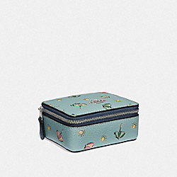 JEWELRY BOX WITH BEACH UMBRELLA PRINT - SEAFOAM/MIDNIGHT/SILVER - COACH F73470