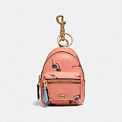 BACKPACK COIN CASE WITH SUNGLASSES PRINT - LIGHT CORAL/MULTI/GOLD - COACH F73476