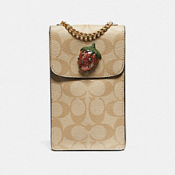 NORTH/SOUTH CROSSBODY IN SIGNATURE CANVAS WITH FRUIT - LIGHT KHAKI/CORAL/GOLD - COACH F73486