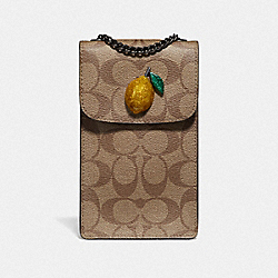 NORTH/SOUTH CROSSBODY IN SIGNATURE CANVAS WITH FRUIT - KHAKI/SUNFLOWER - COACH F73486