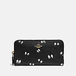 DISNEY X COACH ACCORDION ZIP WALLET WITH SNOW WHITE AND THE SEVEN DWARFS EYES PRINT - BLACK/MULTI/GOLD - COACH F73492
