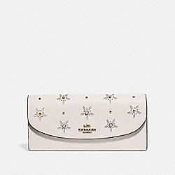 SLIM ENVELOPE WALLET WITH ALLOVER STUDS - CHALK - COACH F73495