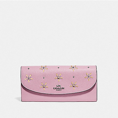 COACH SLIM ENVELOPE WALLET WITH ALLOVER STUDS - TULIP - F73495