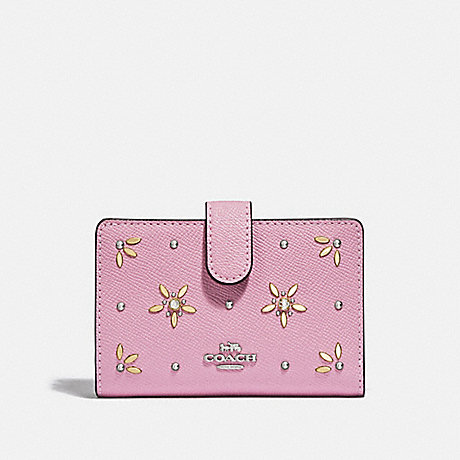 COACH MEDIUM CORNER ZIP WALLET WITH ALLOVER STUDS - TULIP - F73497