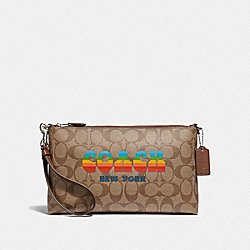 LARGE WRISTLET 25 IN SIGNATURE CANVAS WITH RAINBOW COACH ANIMATION - KHAKI/MULTI/SILVER - COACH F73513