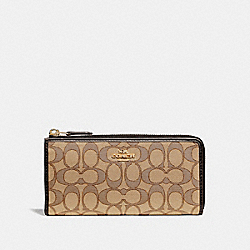 L-ZIP WALLET IN SIGNATURE JACQUARD - KHAKI/BROWN/IMITATION GOLD - COACH F73527