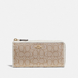 L-ZIP WALLET IN SIGNATURE JACQUARD - LIGHT KHAKI/CHALK/IMITATION GOLD - COACH F73527