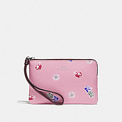 DISNEY X COACH CORNER ZIP WRISTLET WITH SNOW WHITE AND THE SEVEN DWARFS GEMS PRINT - TULIP/MULTI/SILVER - COACH F73581