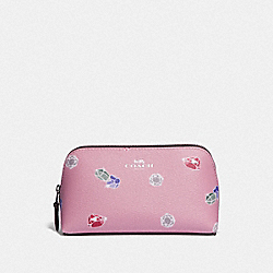 DISNEY X COACH COSMETIC CASE 17 WITH SNOW WHITE AND THE SEVEN DWARFS GEMS PRINT - TULIP/MULTI/SILVER - COACH F73582