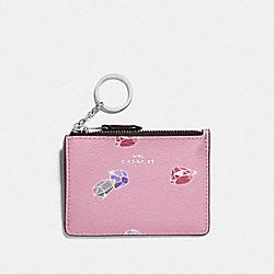 DISNEY X COACH MINI SKINNY ID CASE WITH SNOW WHITE AND THE SEVEN DWARFS GEMS PRINT - TULIP/MULTI/SILVER - COACH F73583