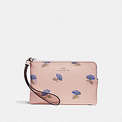 CORNER ZIP WRISTLET WITH BELL FLOWER PRINT - PINK/MULTI/SILVER - COACH F73599