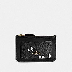 DISNEY X COACH ZIP TOP CARD CASE WITH SNOW WHITE AND THE SEVEN DWARFS EYES PRINT - BLACK/MULTI/GOLD - COACH F73606