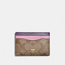CARD CASE IN COLORBLOCK SIGNATURE CANVAS - TULIP/KHAKI/GOLD - COACH F73618
