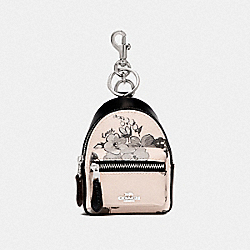 BACKPACK COIN CASE WITH FAIRY TALE FLORAL PRINT - SILVER/CHALK MULTI - COACH F73638