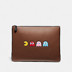 LARGE POUCH WITH PAC-MAN MOTIF - SADDLE/BLACK ANTIQUE NICKEL - COACH F73648