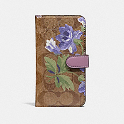 IPHONE X/XS FOLIO IN SIGNATURE CANVAS WITH LILY BOUQUET PRINT - KHAKI/PURPLE - COACH F73698