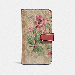 IPHONE X/XS FOLIO IN SIGNATURE CANVAS WITH LILY BOUQUET PRINT - LIGHT KHAKI/PINK - COACH F73698